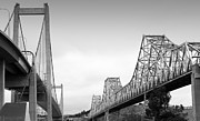 Alfred Posters - The New Alfred Zampa Memorial Bridge and The Old Carquinez Bridge . Black and White . 7D8830 Poster by Wingsdomain Art and Photography