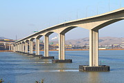 Bay Bridge Photos - The New Benicia-Martinez Bridge Across The Carquinez Strait in California . 7D10434 by Wingsdomain Art and Photography