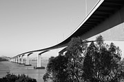 Bay Bridge Art - The New Benicia-Martinez Bridge Across The Carquinez Strait in California . 7D10438 . black and whit by Wingsdomain Art and Photography