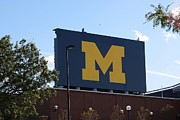 University Of Michigan Framed Prints - The New Big M Framed Print by Jim Vansant