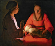 The Mother Painting Prints - The New Born Child Print by Georges de la Tour