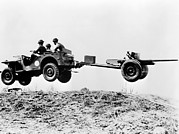 Historical Photo Posters - The New Jeep In Mid-air As It Pulls Poster by Everett