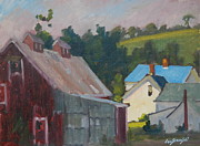 Berkshire Hills Paintings - The New Roof by Len Stomski