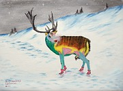 Snow Scene Mixed Media Prints - The New Rudolph Print by Riley Geddings