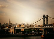 Nyc Cityscape Posters - The New York City Skyline and Manhattan Bridge at Sunset Poster by Vivienne Gucwa