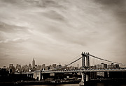 Nyc Skyline Posters - The New York City Skyline and the Manhattan Bridge Poster by Vivienne Gucwa