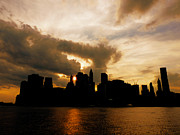 Manhattan Sunset Posters - The New York City Skyline At Sunset Poster by Vivienne Gucwa
