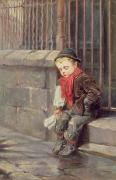 Railings Posters - The News Boy Poster by Ralph Hedley