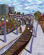 Transportation Tapestries - Textiles Metal Prints - The Next Stop Is... Metal Print by Marina Gershman