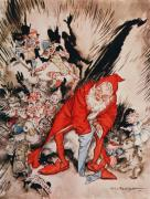 Santa Claus Posters - The Night Before Christmas Poster by Arthur Rackham