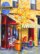 Restaurant Signs Paintings - The Night Kitchen by Diane Daigle