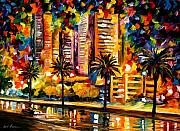 Afremov Art - The Night Lights Of Miami by Leonid Afremov