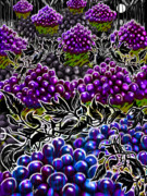 Baskets Mixed Media Framed Prints - The Night Of The Groovy Grapes Framed Print by Steve Farr