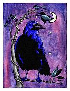 Raven Moon Prints - The Night Raven Print by Baird Hoffmire