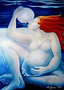 Pastels Pastels - The Night You Werre Born the Moon Came Down and Kissed Me by Angela Treat Lyon