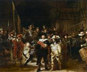 Group Metal Prints - The Nightwatch Metal Print by Rembrandt