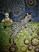 Cogs Mixed Media Posters - The Nobility of the Zebra Poster by Jeanne Hollington