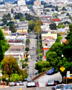 Wingsdomain Digital Art - The Noe Street Hill in San Francisco . 7D7559 by Wingsdomain Art and Photography