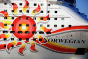 Boat Cruise Prints - The Norwegian Sun Bow Print by Susanne Van Hulst