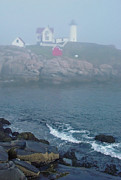 Nubble Posters - The Nubble Lighthouse at York Maine Poster by Suzanne Gaff