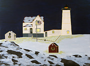 Nubble Lighthouse Paintings - The Nubble by Susan Houghton Debus