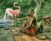 Flamingoes Art - The Nubian by Georgio Marcelli