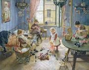 Mending Metal Prints - The Nursery Metal Print by Fritz von Uhde