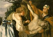 Saint  Paintings - The Nursing of Saint Sebastian by Theodore van Baburen