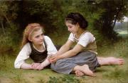 Girl Talk Framed Prints - The Nut Gatherers Framed Print by William-Adolphe Bouguereau