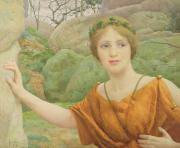 Garland Framed Prints - The Nymph Framed Print by Thomas Cooper Gotch