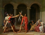 Jacques Louis (1748-1825) Framed Prints - The Oath of Horatii Framed Print by Jacques Louis David