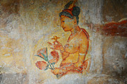 Fresco Framed Prints - The Ode for the Women Beauty I. Sigiriyan Lady with Flowers. Sigiriya. Sri Lanka Framed Print by Jenny Rainbow