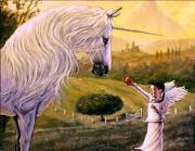 Unicorn Paintings - The Offering by Michael Orwick