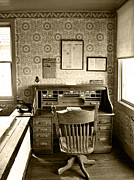 Vintage Photographs Framed Prints - The Office Desk Sepia Framed Print by Ken Smith