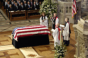 Casket Photos - The Officiating Clergy For The Funeral by Stocktrek Images