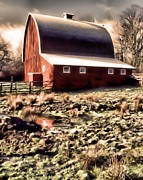 Farming Digital Art - The Ol Red Barn by Tisha McGee