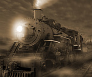 Sepia Digital Art Prints - The Old 210 Print by Mike McGlothlen