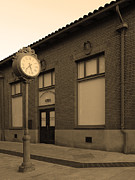 Time Piece Acrylic Prints - The Old Bankers Building - 5D18429 - Sepia Acrylic Print by Wingsdomain Art and Photography
