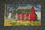 Old Buildings Tapestries - Textiles Originals - The Old Barn by Jo Baner