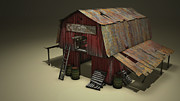 Cinema 4d Prints - The Old Barn Print by Jonathan Chapin