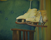 Old Skates Painting Posters - The Old Blue Chair Poster by Diana Cox