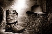 Ranch Photo Prints - The Old Boots Print by Olivier Le Queinec