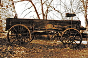 Old Wooden Wagon Prints - The Old Buckboard Wagon Print by Bill Cannon