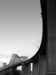 Black And White Photographs Metal Prints - The Old Carquinez Bridge . Black and White . 7D8832 Metal Print by Wingsdomain Art and Photography
