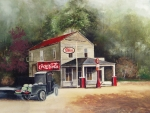 Coca Cola Painting Framed Prints - The Old Esso Station Framed Print by Charles Roy Smith