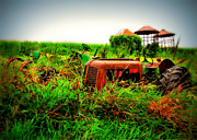Rusty Tractor Tires Acrylic Prints - The Old Farm Acrylic Print by Perry Webster