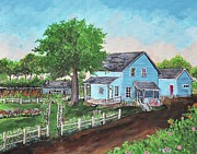 Rural Living Painting Posters - The Old Farmhouse Poster by Reb Frost