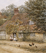Irish Posters - The Old Fish Shop Haslemere Poster by Helen Allingham