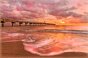 Peach Prints - The Old Fishing Pier Print by Debra and Dave Vanderlaan