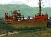 Expressionism Pastels - The old fishing trawler by Stefan Kuhn